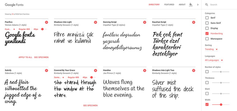 Google Fonts yeni tasarım